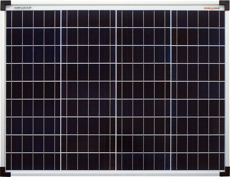 Panel solar de enjoysolar® policristalino de 50W, 12V, Ideal para jardín, autocaravana, caravana