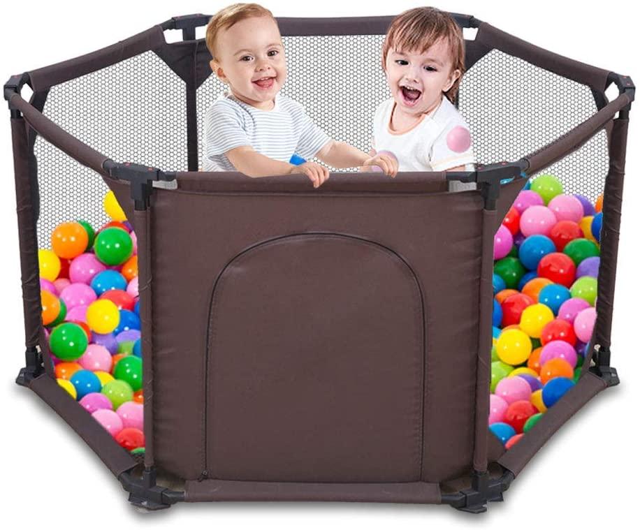 Parque infantil de 6 paneles, portátil, lavable, con malla transpirable para bebés, recién nacidos, interiores y exteriores marrón marrón