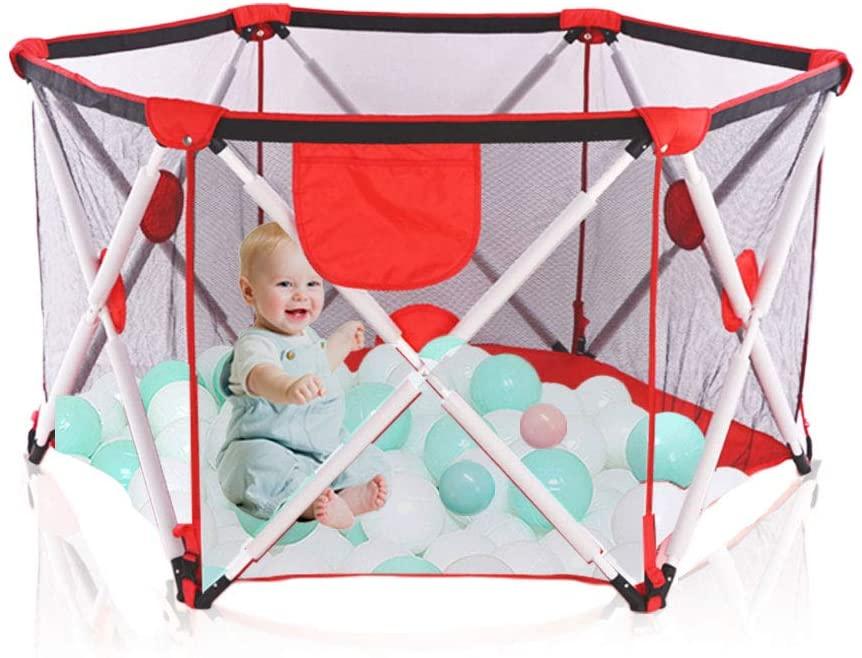 Parque infantil para bebés, parque infantil plegable y portátil para bebés, parque infantil plegable hexagonal con malla transpirable, juegos en interiores y exteriores para edades de 0 a 4 años (RED)