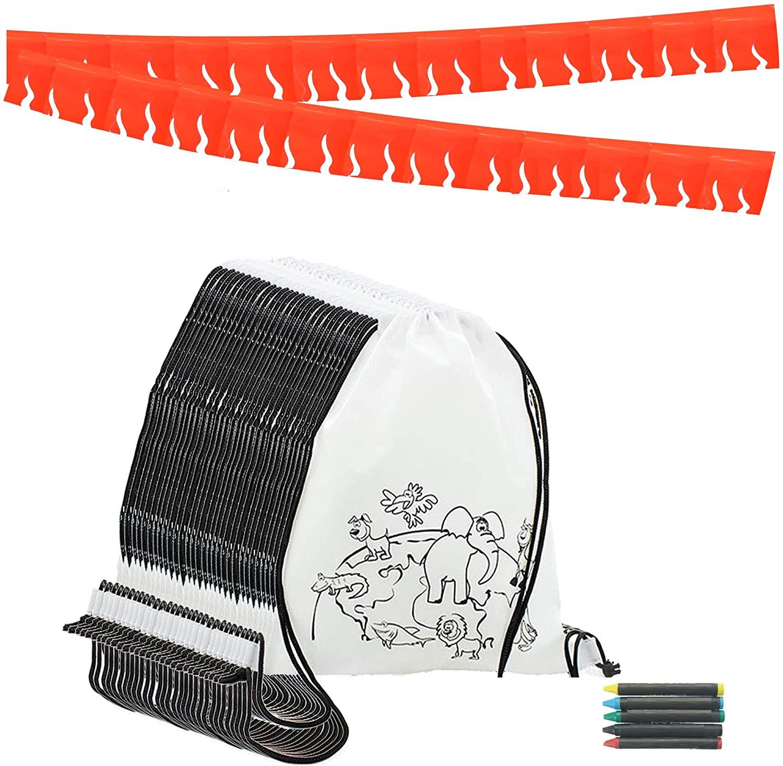 Partituki Mochila Colorear. 15 Mochilas de Colorear, 15 Sets de 5 Ceras de Colores y una Guirnalda (Color Aleatorio) de 20 m. Ideal para Detalles Cumpleaños Infantiles y Regalos Cumpleaños Niños
