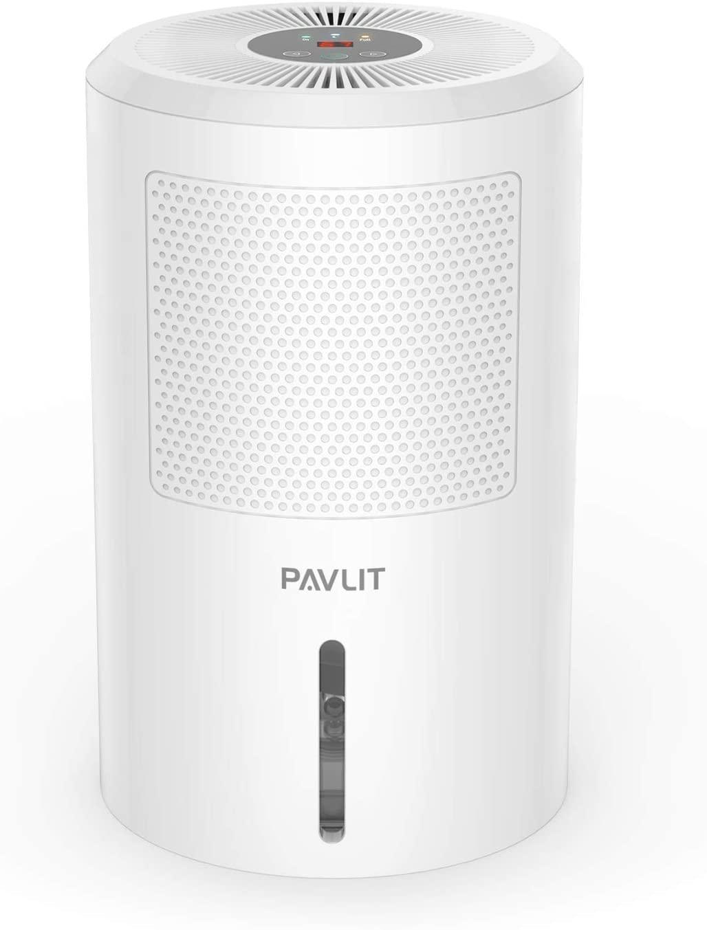 PAVLIT Deshumidificador Electrico, 1.8L Deshumidificador Portátil, Mini Deshumidificador con 60W Bajo Consumo, Silencioso y Auto-Apagado, Purifica Aire y Evitar Bactéria y Humedad para Hogar