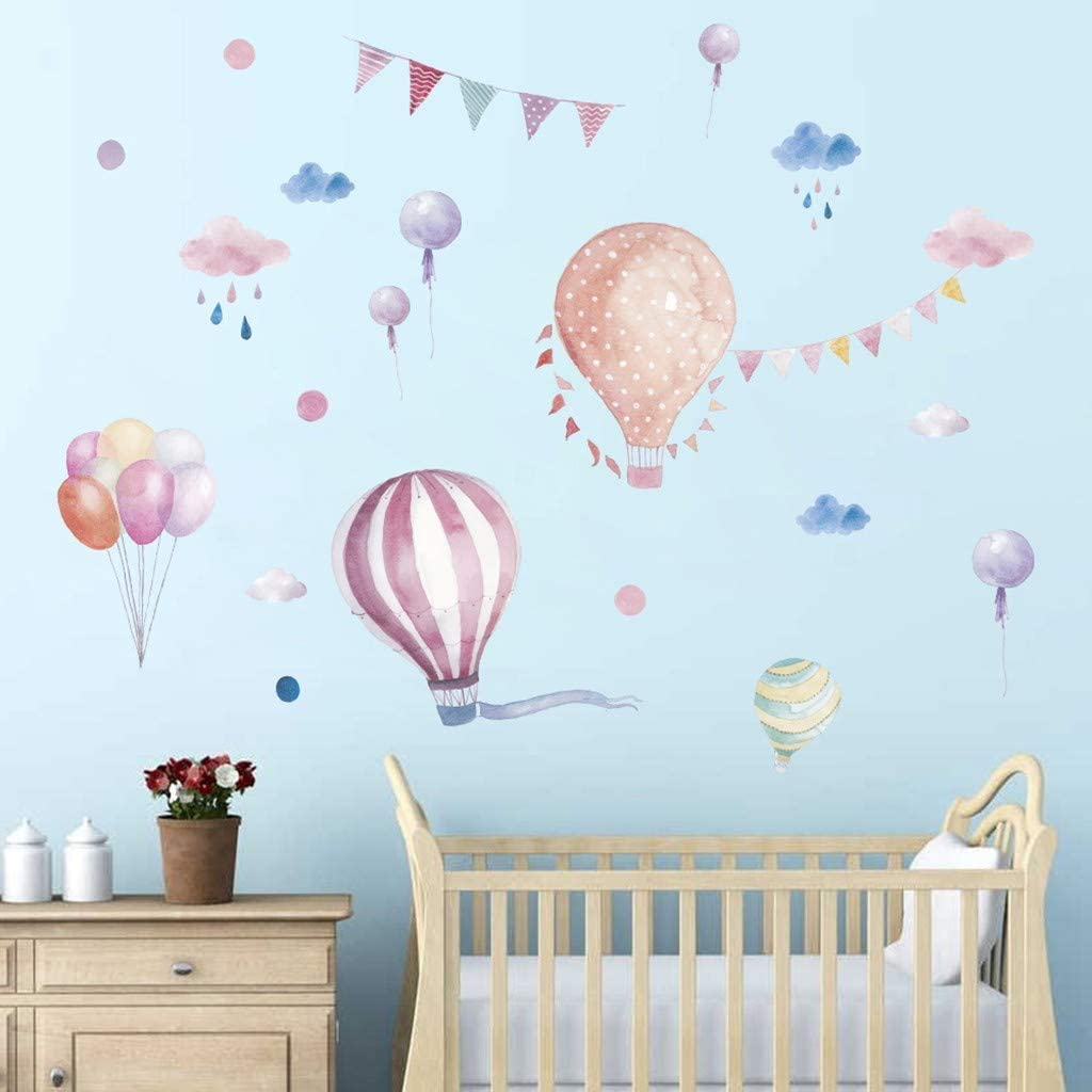 Pegatinas de Pared de Bebé, Dragon868 Globo de aire caliente y Nubes, Fiesta de cumpleaños Decoración de Pared Para Dormitorio de Niños, Etiqueta de vinilo Extraíble Art Mural Wall Sticker