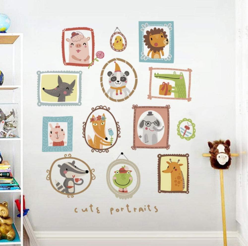 Pegatinas de pared de retrato de animales de dibujos animados para habitación de niños habitación de bebé decoración del hogar pegatinas de sala pegatinas de pared pegatinas de pared