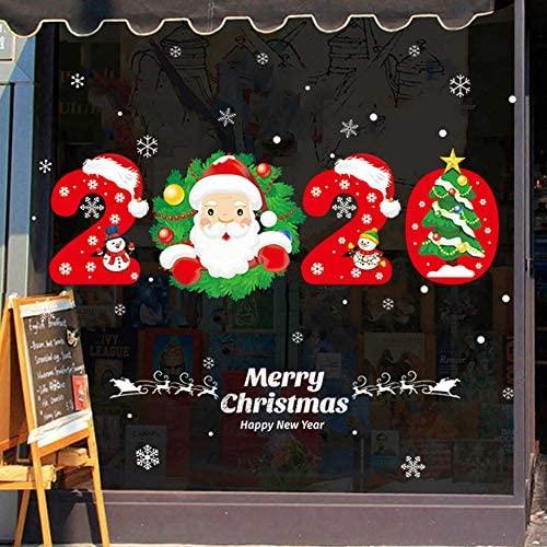 Pegatinas Ventana Navidad,Cartoon Muñeco De Nieve Santa Claus 2020 Pared De Navidad Se Aferra Adhesivo Removible De Pvc Estático Pegatinas Para Niños Inicio Tienda Escaparate Del Partido Puerta M
