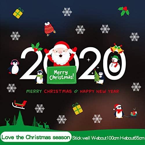 Pegatinas Ventana Navidad,Feliz Año Nuevo 2020 De Pared De Navidad Se Aferra Adhesivo Removible De Pvc Estático Pegatinas Para Niños Inicio Tienda Escaparate Del Partido Puerta Mostrar Decoracion