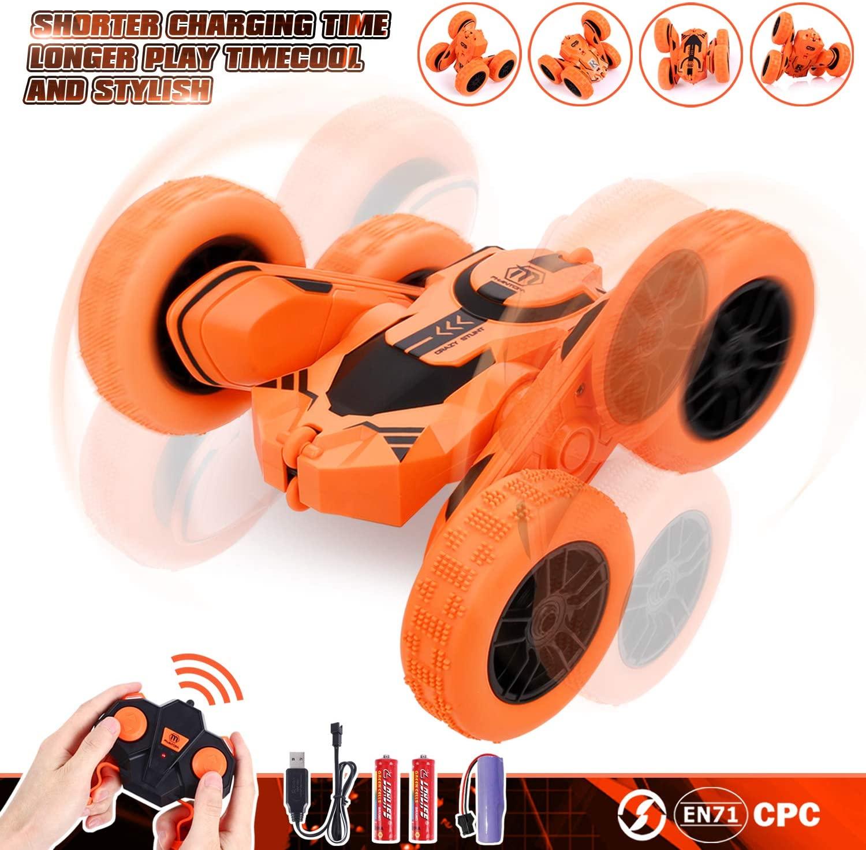 Peradix Coche Teledirigido,Stunt RC Car 2.4GHz Radio Control Remoto Coches Anfibio Doble Lado Rotación de 360 Grados de Alta Velocidad Recargable RC Coche Toy Regalospara Niño/Adulto(Batería incluida