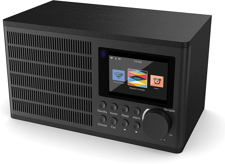 Peterhouse Digital Internet Wi-Fi Radio, UPnP, AUX-in, USB Input/Charging, Alarma Doble, Snooze y timers (Negro)