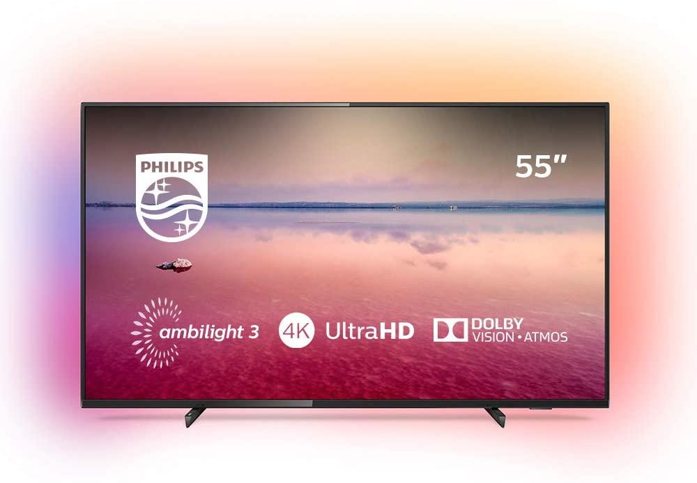 Philips 55PUS6704/12 - Smart TV LED 4K UHD, 55 pulgadas, Resolución de pantalla 3840 x 2160, Relación de aspecto 16:9, Negro brillante [Clase de eficiencia energética A+]