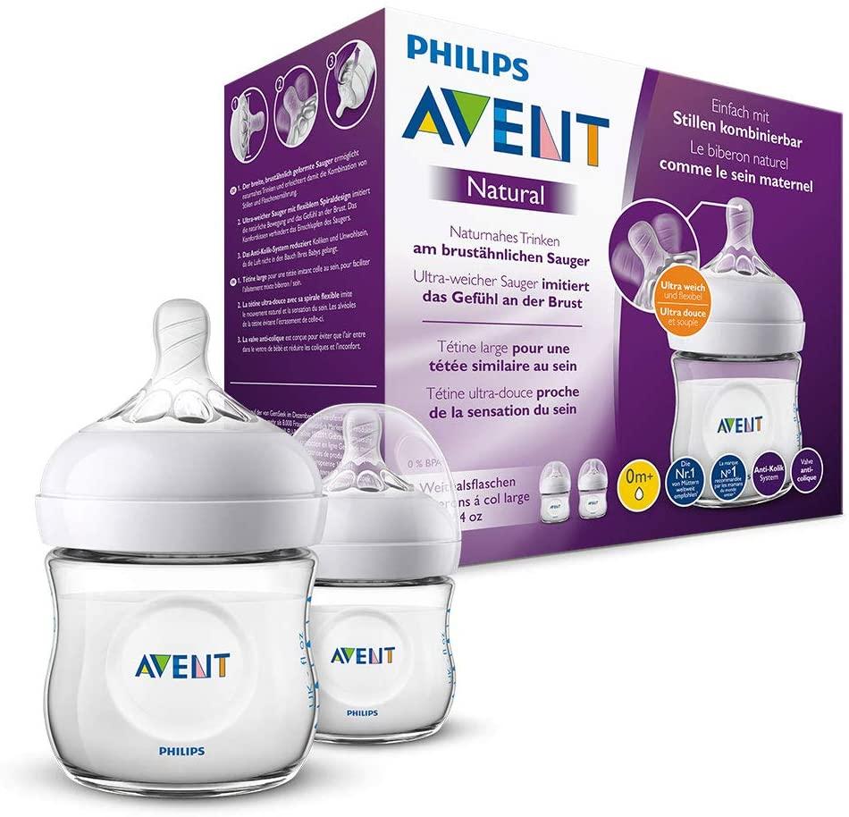 Philips Avent Biberón Natural SCF030/27 - Pack de dos biberones de 125 ml con tetina con flujo para recién nacidos, diseñada para imitar el tacto del pecho, 0% BPA, 0m+, color transparente