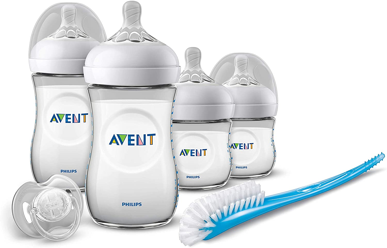 Philips Avent SCD301/01 - Set de recién nacido gama natural, 4 biberones, chupete y escobilla, transparente
