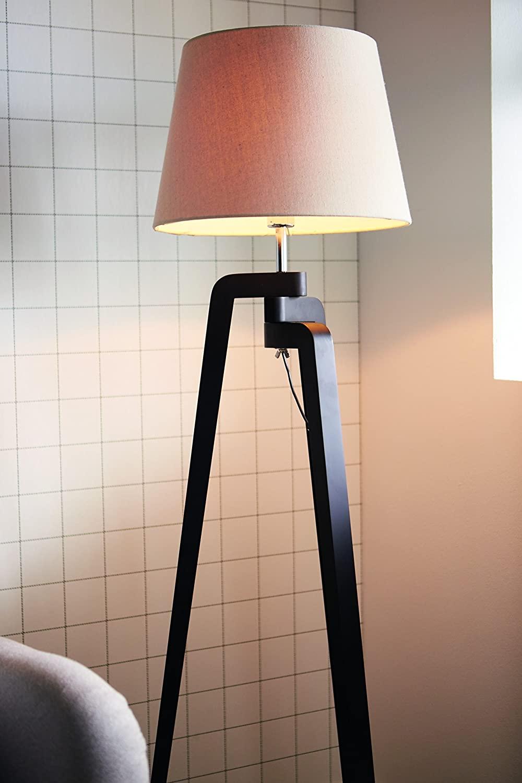 Philips InStyle Gilbert - Lámpara de pie en madera y tulipa de tela 40 W, casquillo gordo E27, pie negro y tulipa blanca [Clase de eficiencia energética A++]