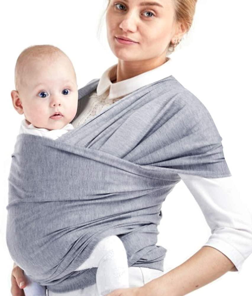 Phiraggit Fular Portabebé,Manta para Lactancia Un Tamaño para Todos - Elastico Porta bebé Wrap para Madre y Padre- Porteo Seguro y Ergonómico, portabebés para recién nacidos hasta 20 kg (Gris claro)