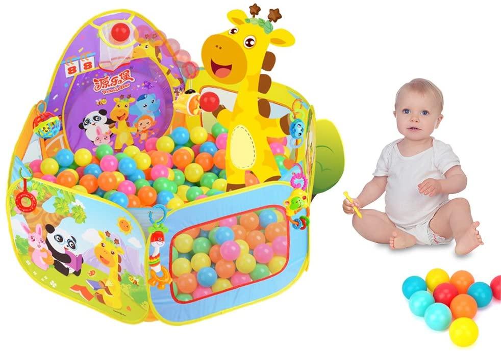 Piscina Bolas Bebe, SKL Parque de Bolas Para Piscina Infantil, 120 cm Casa Plegable Para Niños / Niñas (Rosa Sin Bolas)