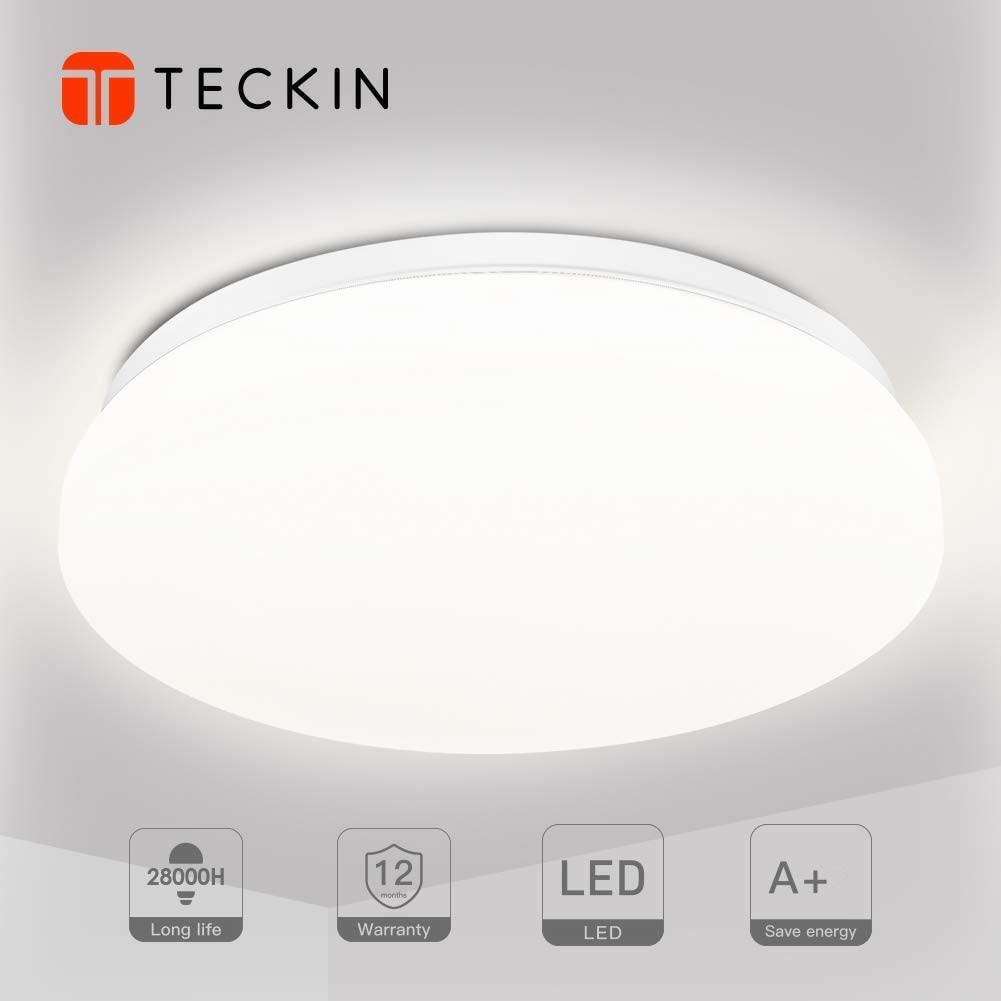 Plafon led de techo,lamparas de techo habitacion,TECKIN 18W Moderna LED Plafón para Baño Dormitorio Cocina Balcón Pasillo Sala de Estar Comedor 1500LM,4500K, Ø28cm, IP44 [Clase de eficiencia energética A+]
