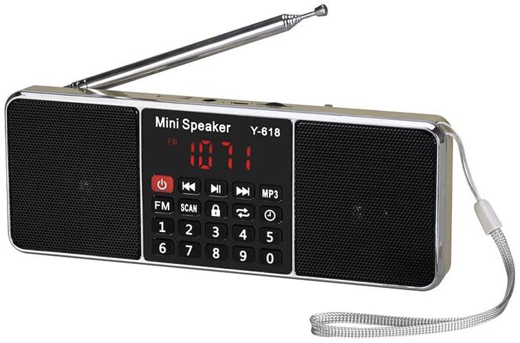 Portátil Estéreo Recargable Y-618 FM De Radio Digital De Doble Canal De Altavoz De Medios Reproductor De Música MP3 Soporte De Tarjeta TF/USB Disco con Pantalla LED Y Función De Reloj