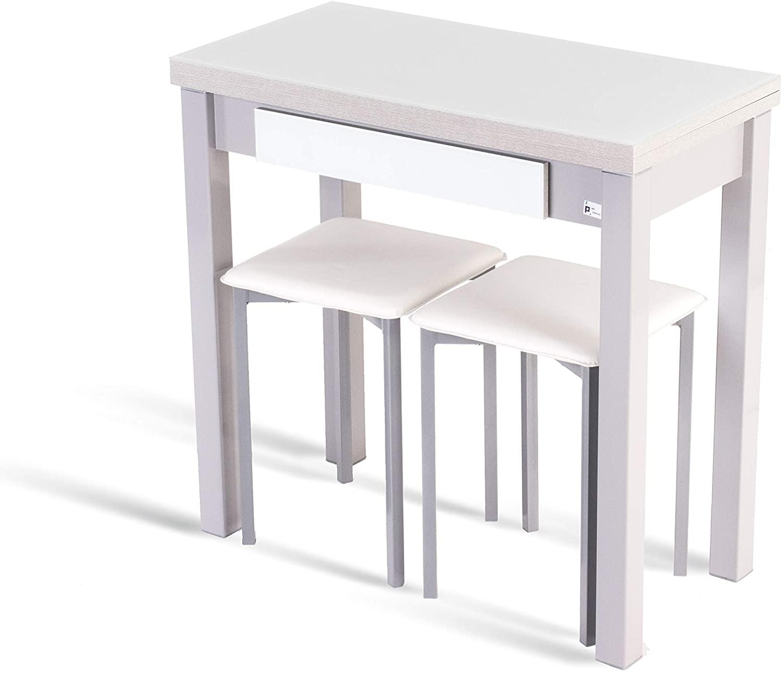 Portus Conjunto Romero - 1 Mesa Libro 80x40(80) (Cristal Blanco) + 2 taburetes (Blanco)