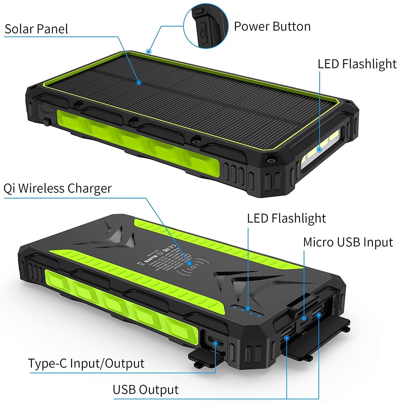 Power Bank Solar 20000mAh, Cargador Solar Portátil Batería Externa Móvil con 2 Salidas USB y 1 tipo C 3.0A de alta velocidad, 4 lámparas LED (modo SOS) y gancho, para iPhone iPad Samsung Dispositivos