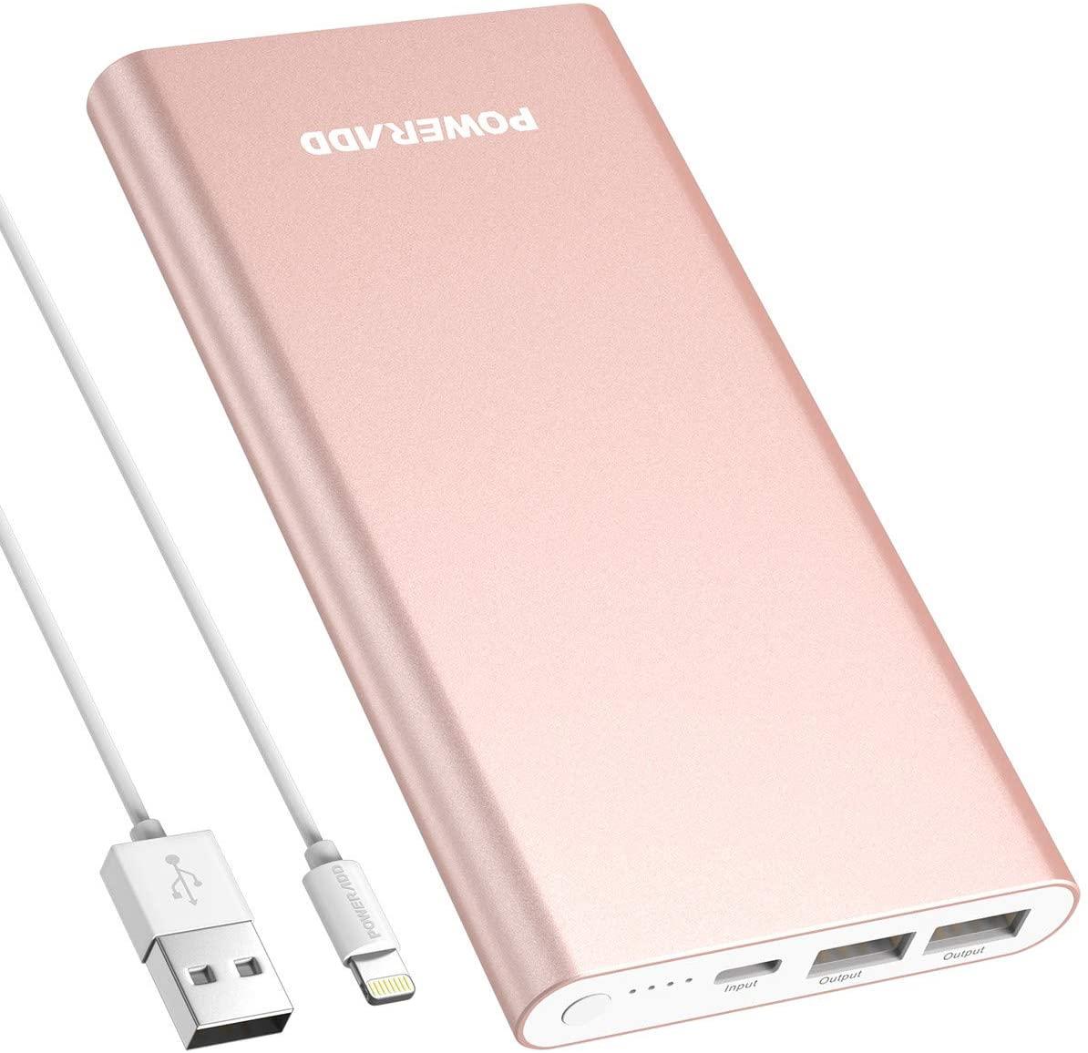 POWERADD Pilot 4GS 12000mAh Power Bank Cargador Portátil Dual Puerto Salida (3A Salida de Alta Velocidad) para iPhone iPad iPod Samsung y Más-Oro Rosa