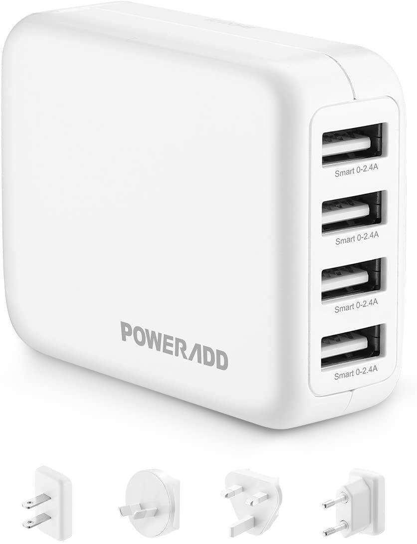 POWERADD USB Cargador de Viaje 4 Puertos de USB (2.4A*4) con Adaptador Internacional (EU/UK/US/AU,100-240V) para iPhone, Tabletas y Otros Dispositivos USB-Blanco