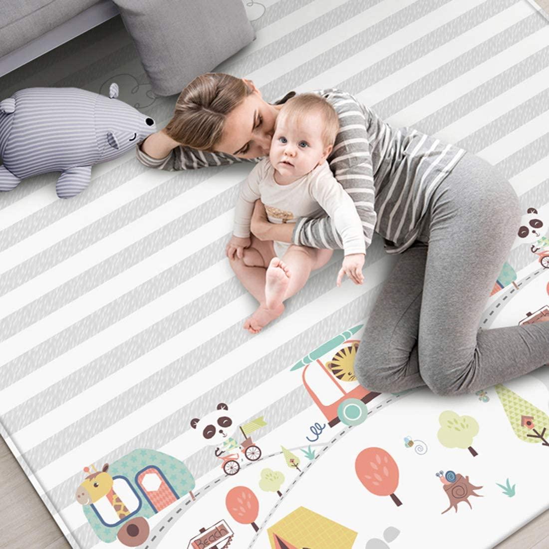 POXL Alfombra de Juegos Bebé Grande, 200 x 180cm Infantil Alfombra Bebe Gateo Impermeable Plegable Alfombra Bebé Acolchada Antideslizante
