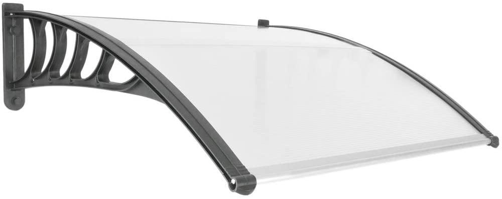 PrimeMatik - Tejadillo de protección 100x90cm Marquesina para Puertas y Ventanas Negro