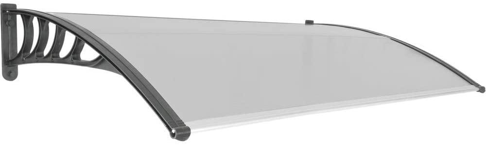 PrimeMatik - Tejadillo de protección 150x90 cm Gris Oscuro. Marquesina para Puertas y Ventanas con Soporte Negro