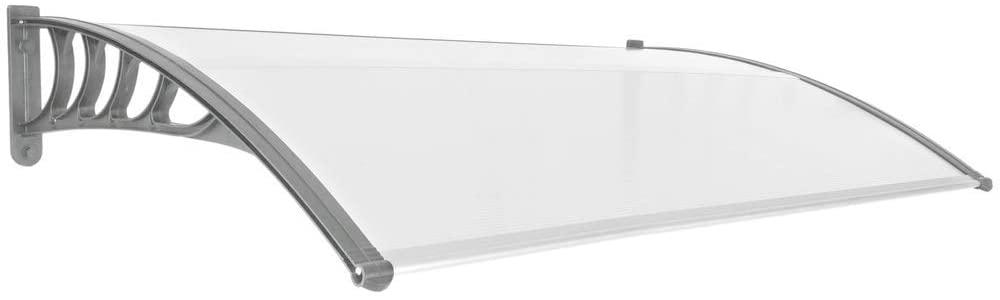 PrimeMatik - Tejadillo de protección 150x90cm Marquesina para Puertas y Ventanas Gris