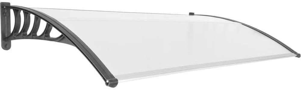 PrimeMatik - Tejadillo de protección 150x90cm Marquesina para Puertas y Ventanas Negro