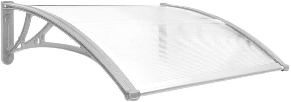 PrimeMatik - Tejadillo de protección 80x60cm Marquesina para Puertas y Ventanas Gris