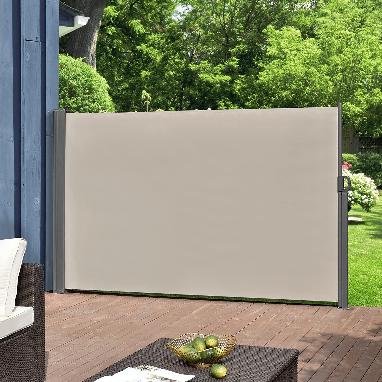 [pro.tec] Toldo Lateral tamaños - Exterior - contra Viento, Sol y visión - Color de Arena - 180 x 300cm