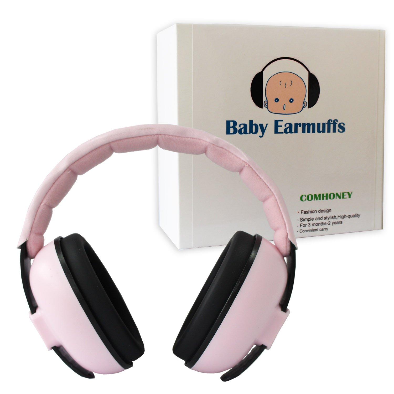 Protección Auditiva Orejeras para Bebé Oídos Plegables y Ajustables Reducción de Ruido para Dormir para Recién Nacidos, 3 Meses – 2 Años Niño (rosado)