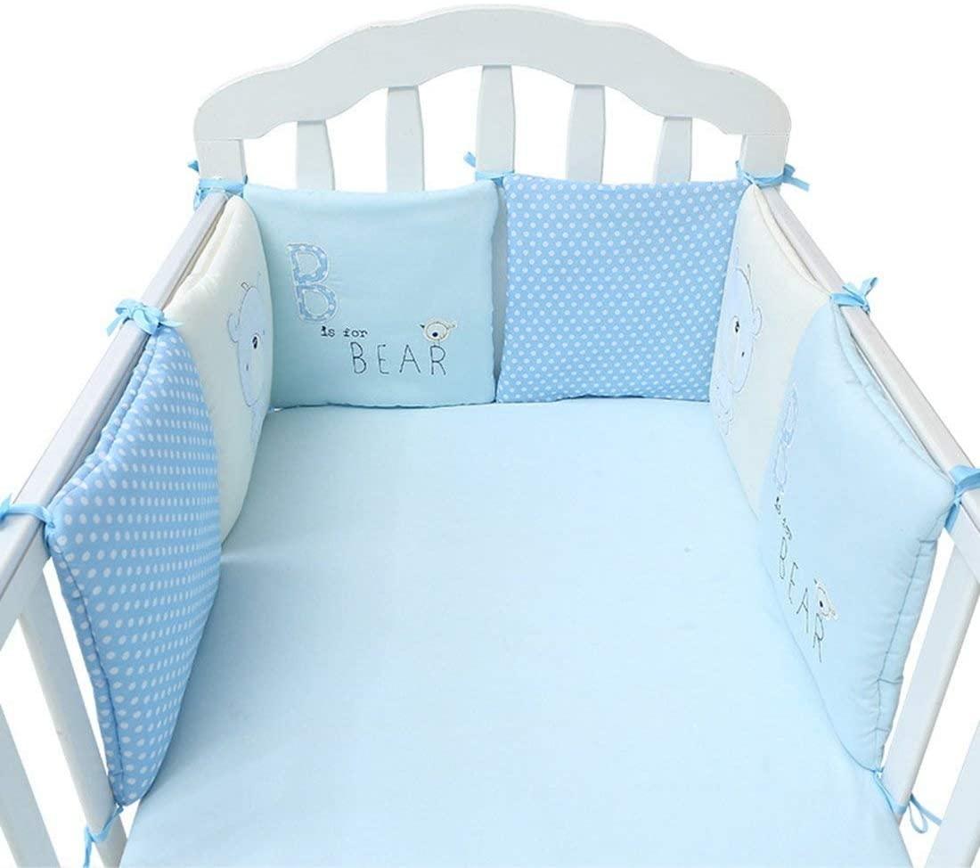 protector cuna,Baby Cot Bed Bumper Cotton 6 PCS Safer Crib Sided Bumpers Juegos de sábanas