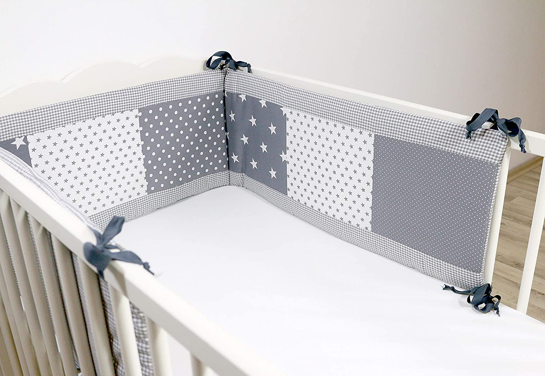 Protector de cuna de ULLENBOOM ® con estrellas grises (protector de cuna de 180x30 cm; chichonera para cunas de 120x60 cm; zona de la cabeza)