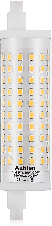 R7S LED 15W 118mm Regulable Lámpara de reflector Azhien, blanco cálido 3000K, 15 vatios, equivalente a la lámpara halógena 80W 100W 125W, 230V CA, 1700LM-2000LM, 360 grados, 1 paquetes [Clase de eficiencia energética A++]