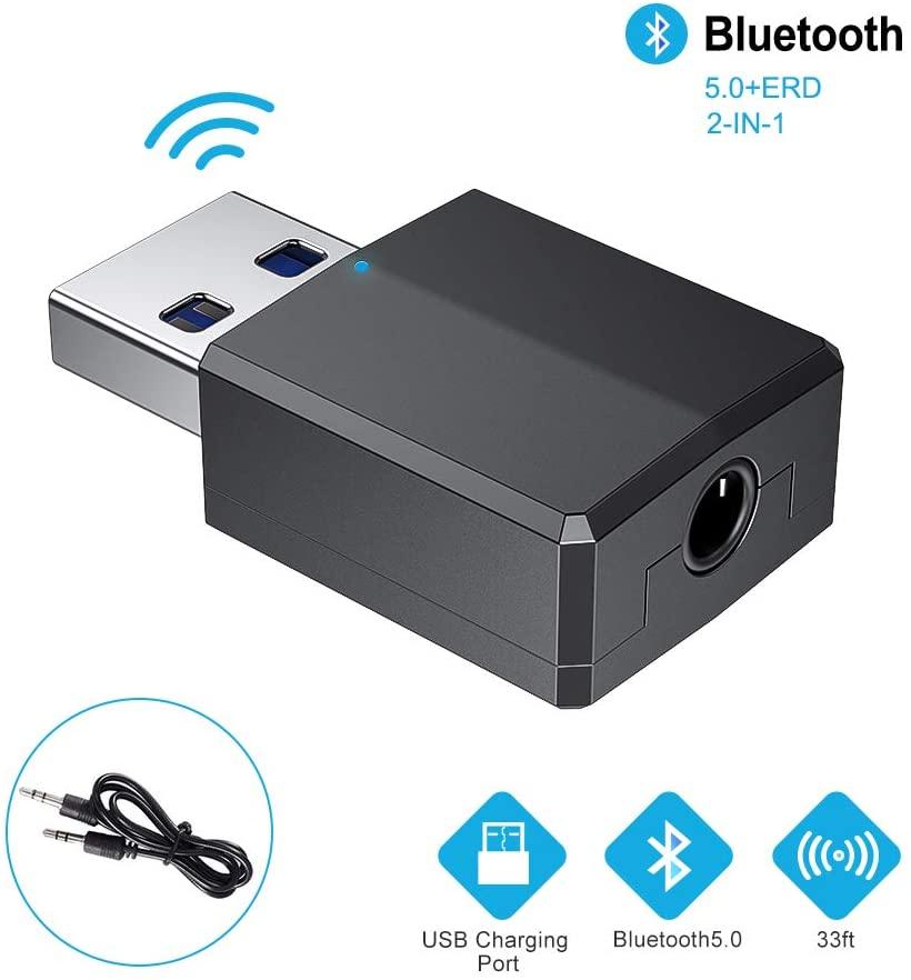 RAYROW Adaptador Bluetooth,Transceptor de Audio inalámbrico y Receptor Transmisor 2 en 1 5.0 con Cable Auxiliar Digital de 3.5 mm para PC/TV/Auriculares/Altavoces/Radio/Reproductor de CD Auriculares