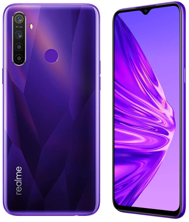 "realme 5 Smartphone Móvil, 4 GB RAM 128 GB ROM 6.5"" Snapdragon 665 AIE 12MP AI Quad Camera, European Version (Púrpura)"