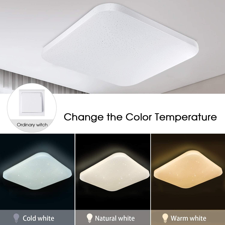 Regulable Luz de techo LED Baño Cocina Dormitorio Lámpara LED Techo Sala de estar Comedor Pasillo Habitación Cuadrado Moderno Impermeable Plafón LED ajustables 3000/4000/6000K 2050lm 26W LUSUNT [Clase de eficiencia energética A++]