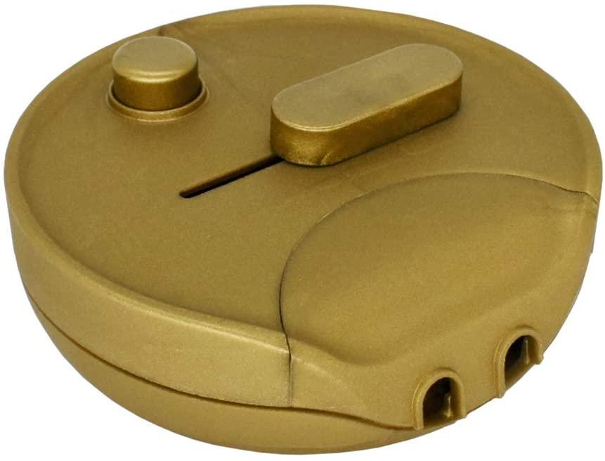 Regulador de intensidad de pie 300 W, redondo, color dorado, universal, para lámparas incandescentes, halógenas y LED con regulador deslizante y interruptor de presión, 230 V, mod. 1012 g.