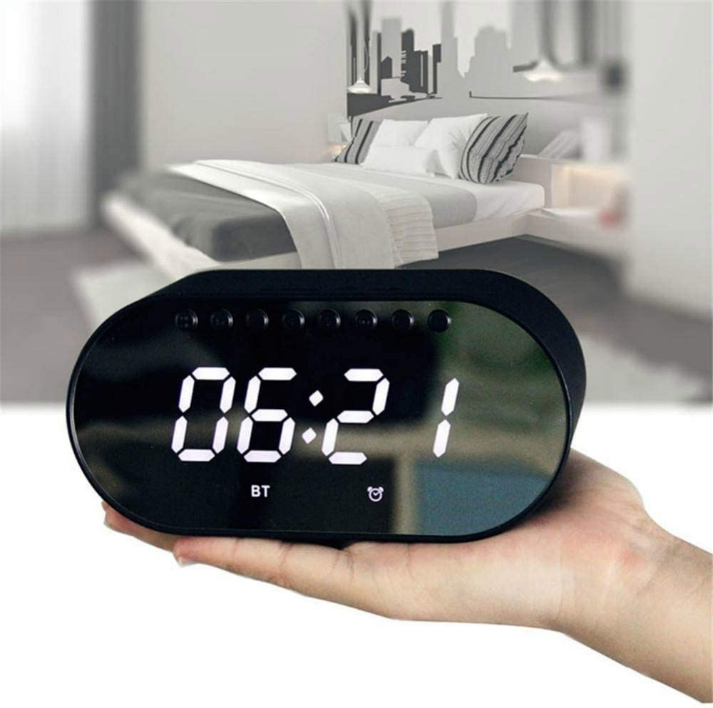 Reloj Despertador Reloj Despertador Led Reloj Digital Altavoces Inalámbricos Bluetooth Soporte Reloj Despertador Dual/Radio FM