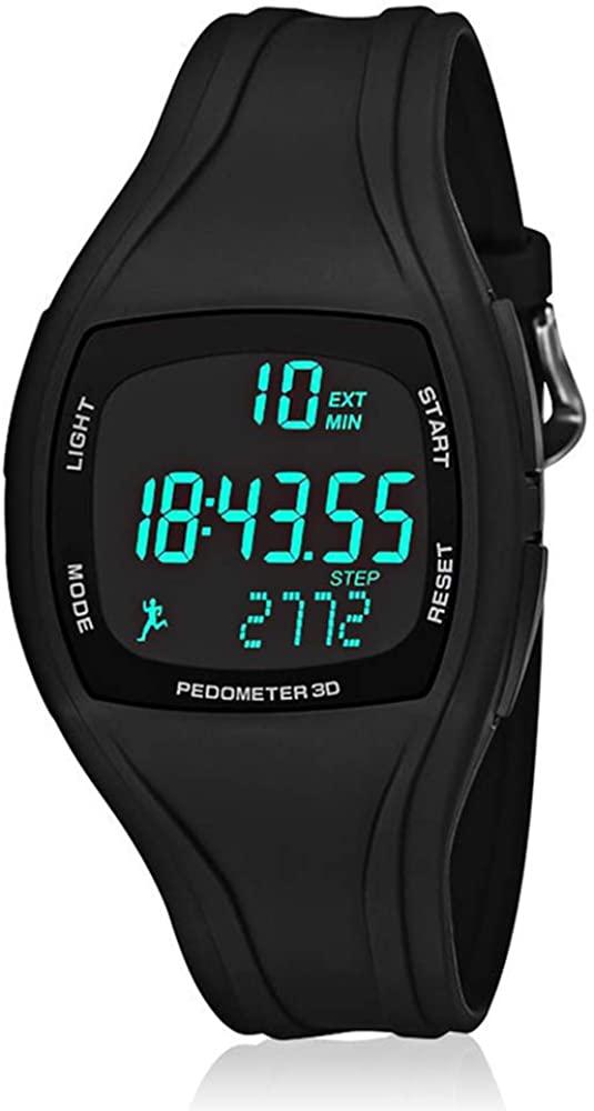Reloj Digital Hombre Deportivos Numeros Grandes Negro con Podómetro, Calendario, Alarma y luz LED para Edad 12- Edad 45