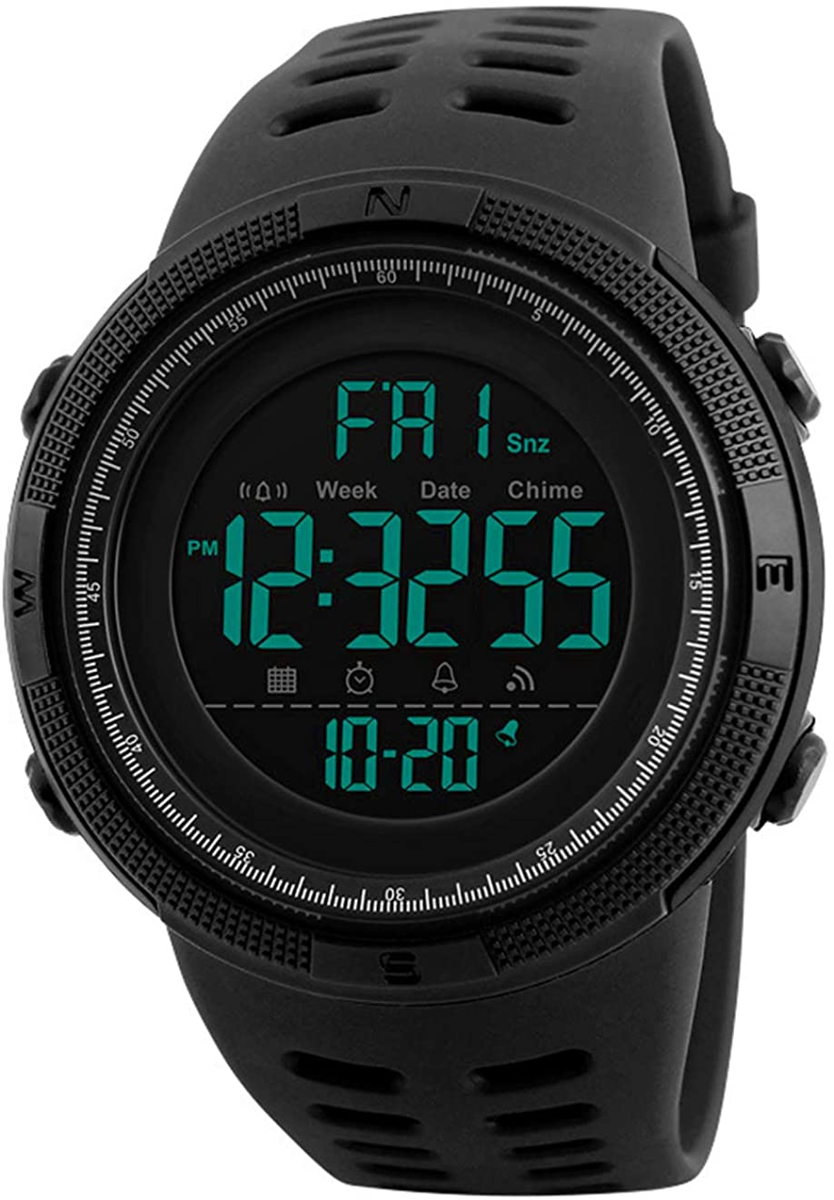 Reloj Digital para Hombre - 50M impermeable Deportivo Relojes de pulsera Prueba para Hombre, Reloj Militar Negro LED con Alarma/cuenta regresiva/Cronómetro / 12/24H para Hombre