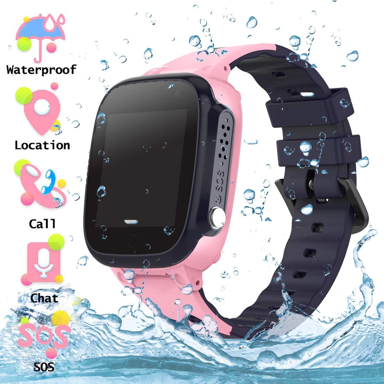 Reloj Inteligente para Niños a Prueba de Agua IP67, Teléfono Smartwatch LBS localizador SOS Alarma por Chat de Voz Cámara, Regalo para Niño Niña Reloj Digital de Pulsera, Rose