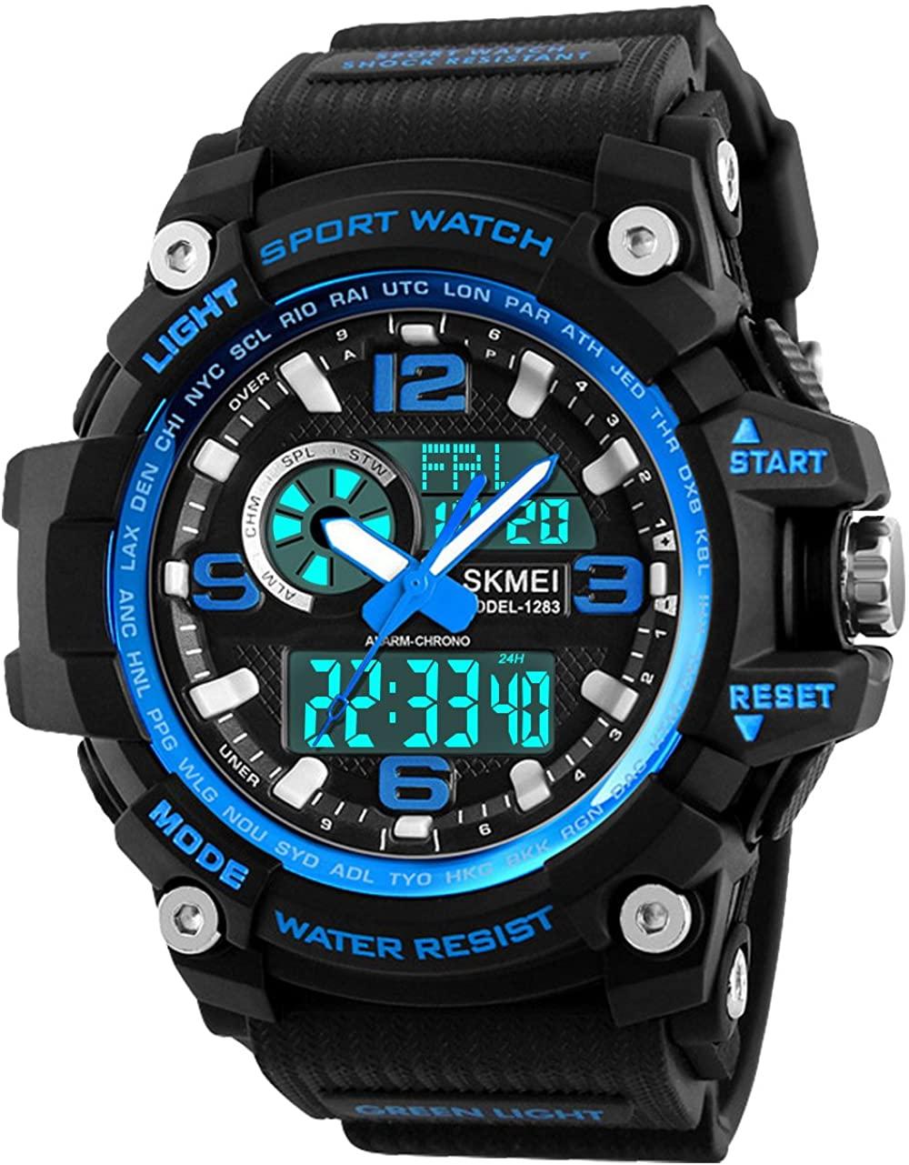 Relojes Deportivos para Hombre, Resistente al Agua Digital Militares Relojes con Cuenta atrás para los Hombres niños Grandes,LED de analógico Relojes de Pulsera para Hombre Azul BHGWR