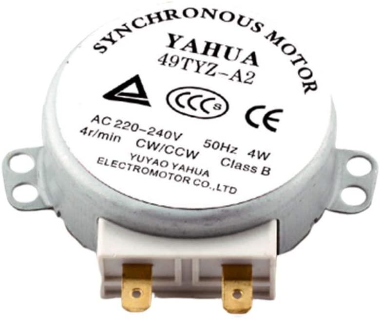 remote.S Motor De Metal 49TYZ-A2 AC 220-240V CW/CCW 4W 4 RPM para Ventiladores, Calentadores Eléctricos Iluminación De Escenarios Hornos Microondas