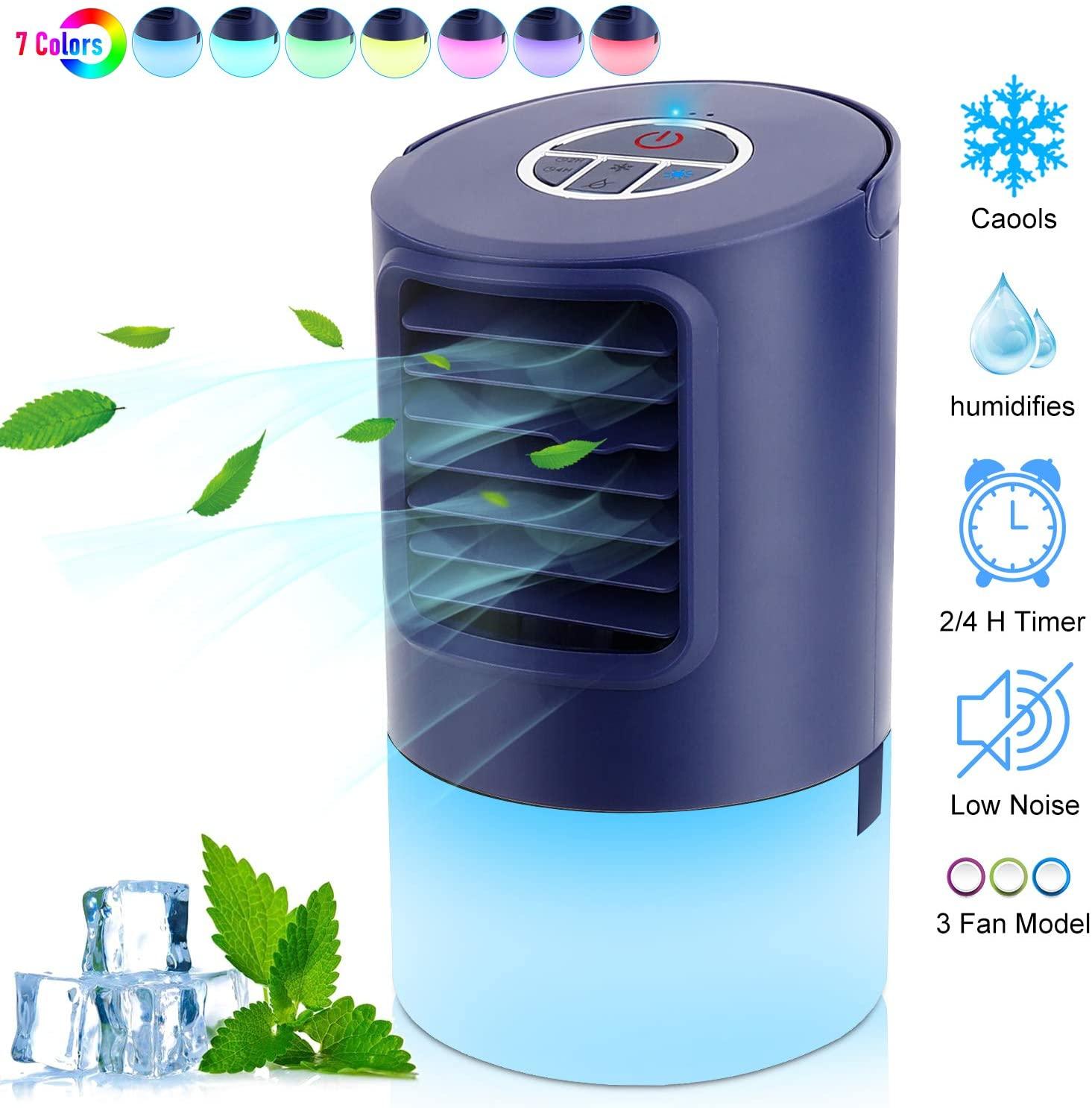 RenFox Aire Acondicionado Portátil Air Cooler Humidificador ,Aire Acondicionado Portátil con Mango Oficina Ventilador de Escritorio Mini Ventilador para el hogar, Interior, Cocina, al Aire Libre [Clase de eficiencia energética A+++]