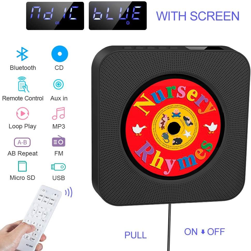 Reproductor de CD portátil, Altavoz HiFi Incorporado, Reproductor de música MP3 USB con Bluetooth con Radio FM de Audio para el hogar, Conector AUX de 3.5 mm, para Regalo en el hogar para Amigos