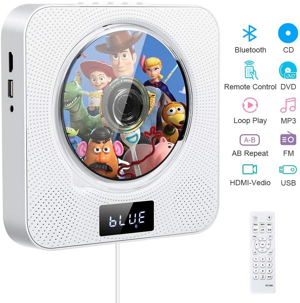 Reproductor de DVD CD portátil, reproductor de música y películas Bluetooth con 4K HDMI, altavoces de alta fidelidad, radio FM USB MP3,conector para auriculares de 3.5 mm,regalos para el hogar (white)