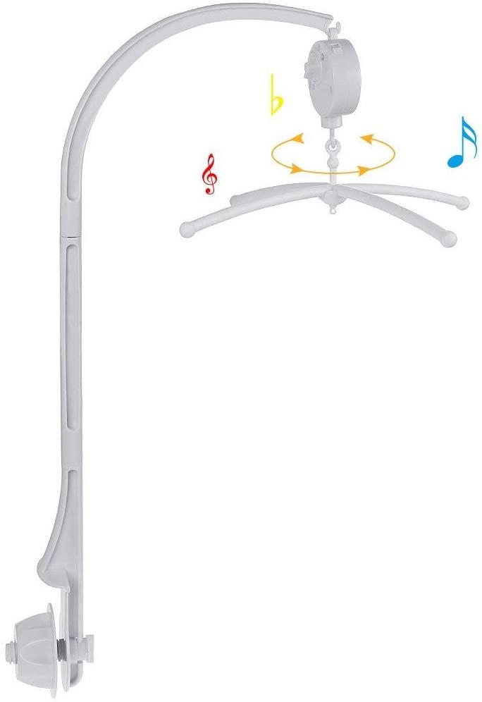 Rovtop 2 en 1 Cuna Movil Cama de la Campana Soporte para Bebé Blanco +Auto Caja de Musica (Sin Juguetes)