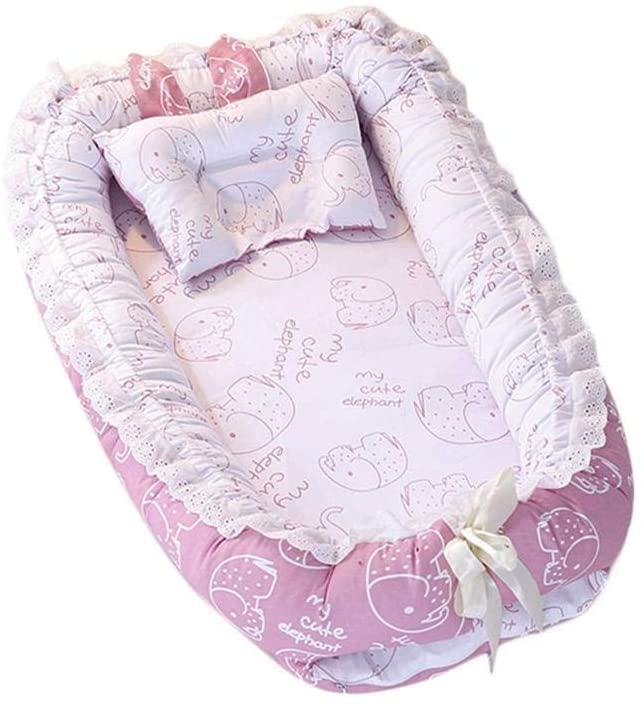 S-tubit Tumbona recién Nacida orgánica | Nido de bebé | Cama portátil para bebés y niños pequeños de 0 a 12 Meses | Colores Azul, Rosa, Beige para niñas y niños | Usar como Almohada de Regular Supple