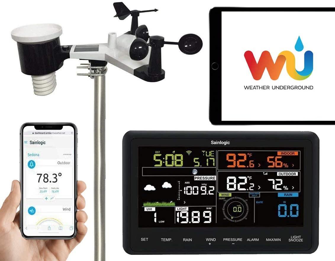 sainlogic inalámbrica profesional-10 en 1-Estación meteorológica con Wi-Fi y con Sensor Exterior, pluviómetro, anemómetro, pronóstico del Tiempo, Pantalla a Color, Wunderground, Weiß-16